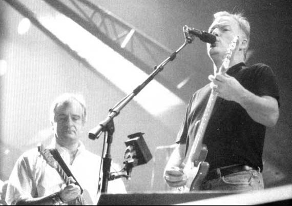 Douglas Adams on stage with Pink Floyd